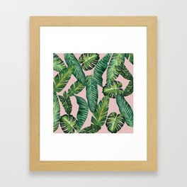 Jungle Leaves, Banana, Monstera II Pink #society6 Framed Art Print