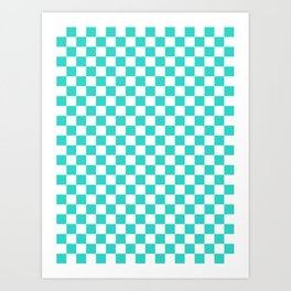 Small Checkered - White and Turquoise Art Print