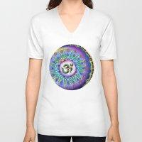ohm V-neck T-shirts featuring Ohm Mandala  by Kaleidoscopic