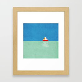 SOMETIMES YOU JUST NEED A BOAT - BLUE/GREEN/RED/YELLOW Framed Art Print