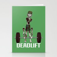 crossfit Stationery Cards featuring Crossfit Zombie by RonkyTonk doing Deadlift by RonkyTonk