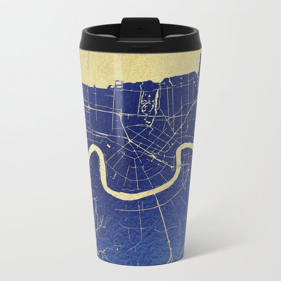 New Orleans Blue and Gold Map Metal Travel Mug