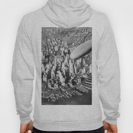USS Akron in flight over Manhattan skyscrapers black and white photography Hoody
