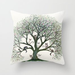 Pink Cheri Whimsical Cats in Tree Throw Pillow