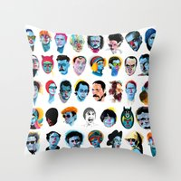 talking heads Throw Pillows featuring Heads by Alvaro Tapia Hidalgo