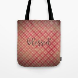 Blessed on Red & Khaki Plaid Tote Bag