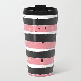Modern pink black white watercolor splatters stripes Travel Mug