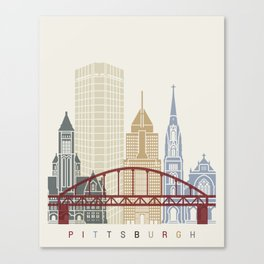 Pittsburgh V2 skyline poster Canvas Print