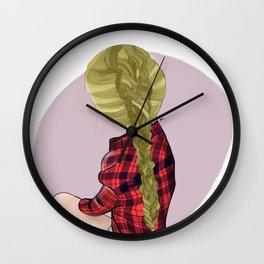Plaids and Plaits Wall Clock