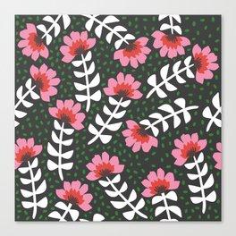 Camelita Retro Folk Flower Canvas Print