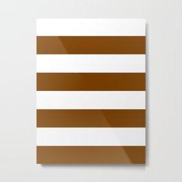 Wide Horizontal Stripes - White and Chocolate Brown Metal Print