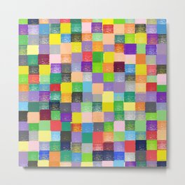 Pixelated Patchwork Metal Print