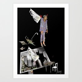 man with wings breaking out of a house, chattered glass, freeing itself out of inside borders Art Print