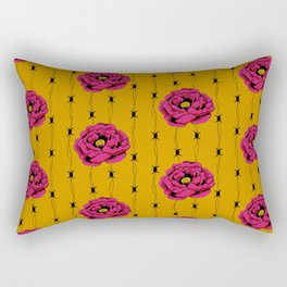 Hot Pink Flower With Barbed Wire On Yellow Background Rectangular Pillow