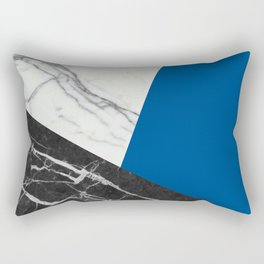 Black and white marble with pantone lapis blue Rectangular Pillow