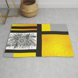 Sunflower Doodle on bright bold background Rug