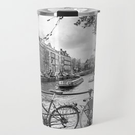 Bicycles parked on bridge over Amsterdam canal Travel Mug
