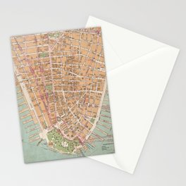 Vintage Map of Lower Manhattan (1921) Stationery Cards