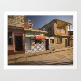 Beautiful and colourful little cafeteria in Trinidad, Cuba. Art Print