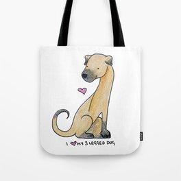I Love My 3-Legged Dog Tote Bag