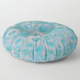 Halftone Pansies Aqua Teal Pink Floor Pillow