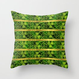 Irish Shamrock -Clover Gold and Green pattern Throw Pillow