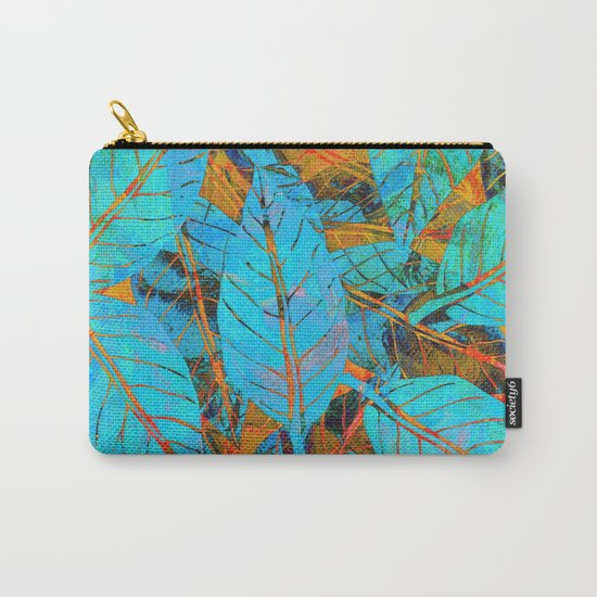Blue & Orange Leaves Carry-All Pouch