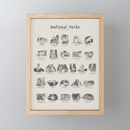 National Parks Alphabet Framed Mini Art Print