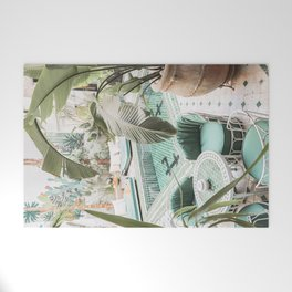 Travel Photography Art Print | Tropical Plant Leaves In Marrakech Photo | Green Pool Interior Design Welcome Mat