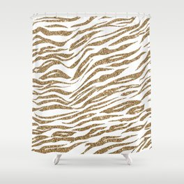 White & Glitter Animal Print Pattern Shower Curtain