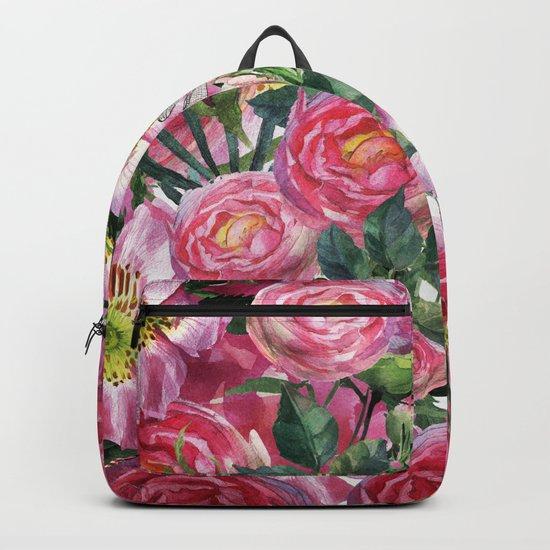 Vintage & Shabby-chic - floral dog roses flowers rose flower Backpack