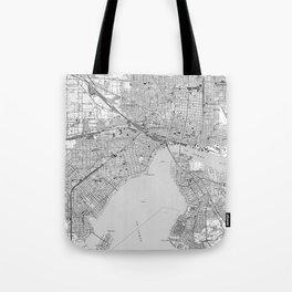 Vintage Map of Jacksonville Florida (1950) BW Tote Bag