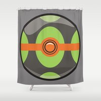 pokeball Shower Curtains featuring Dusk Pokeball by Pi Design Prints