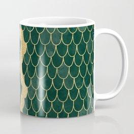 Mermaid Fin Gold Streak // Emerald Green Glittery Scale Watercolor Gradient Bedspread Home Decor Coffee Mug