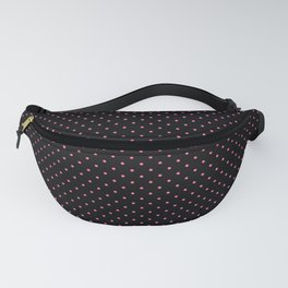 Small Light Hot Pink on Black Polka Dots Fanny Pack