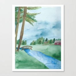 watercolor landscape // washington farmland countryside with river and trees Canvas Print