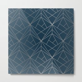 Benjamin Moore Hidden Sapphire Silver Geometric Pattern With White Shimmer Metal Print