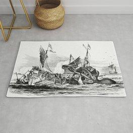 1810 vintage nautical octopus steampunk kraken sea monster drawing print Denys de Montfort retro Rug
