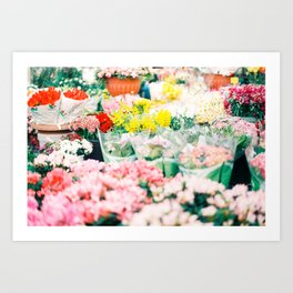 Flower Stand in Rome Art Print