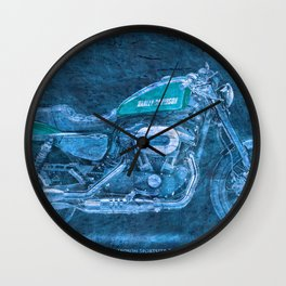 2016 Harley Sportster Roadster 1200 BLUE, motorcycle art for men Wall Clock