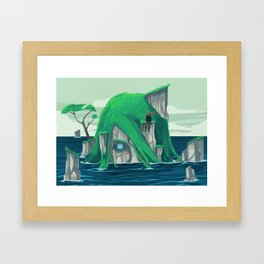 The wanderer and the ancient island Framed Art Print