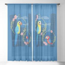 Squeaky Beakies With Freaky Tikis Sheer Curtain