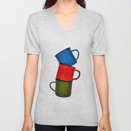 Vintage green, blue, red enamel mugs in modern look Unisex V-Neck