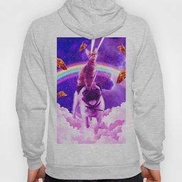Cosmic Cat Riding Unicorn Pug Hoody