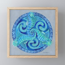 Seahorse Triskele Celtic Blue Spirals Mandala Framed Mini Art Print