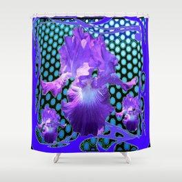 PURPLE ART NOUVEAU PURPLE IRIS ABSTRACT BLUE ART Shower Curtain