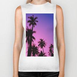 Tropical palm trees with purplish gradient Biker Tank