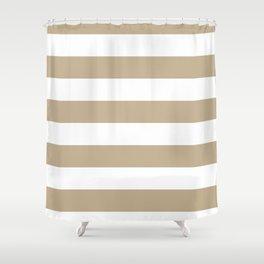 Horizontal Stripes - White and Khaki Brown Shower Curtain