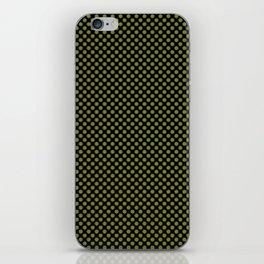 Black and Woodbine Polka Dots iPhone Skin