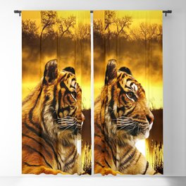 Tiger and Sunset Blackout Curtain